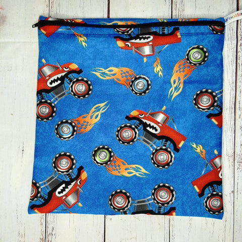 Monster Truck - Large Poppins Pouch - Waterproof, Washable, Food Safe