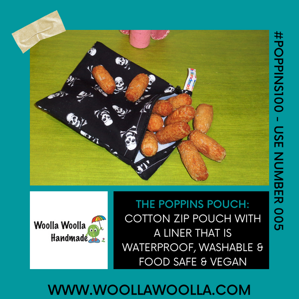 Green Holly Foliage - Small Poppins Pouch Washable Snack Bag