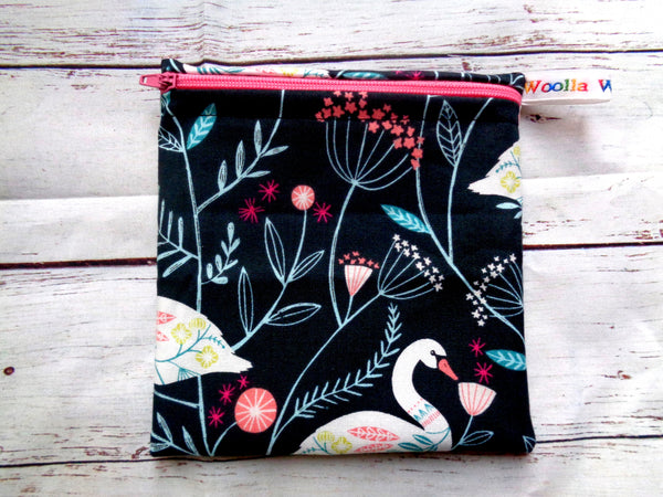 Floral Swan - Small Poppins Pouch Washable Snack Bag
