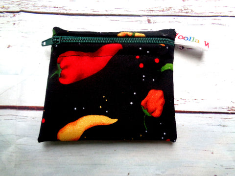 Black Multi Chilli Pepper - Pippins Poppins Pouch Snack Pouch, Coin Purse, Ear Bud Case