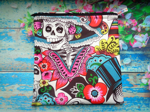 Carnival Skeleton - Large Poppins Pouch - Waterproof, Washable, Food Safe