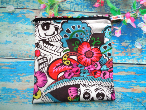 Carnival Skeleton Mix Medium Poppins Pouch Washable Sandwich Bag - Alt. to Wax Wrap