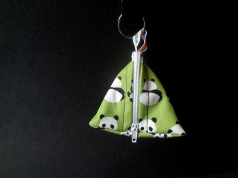 Pandas on Green - Tri-Keyring Poppins Pouch