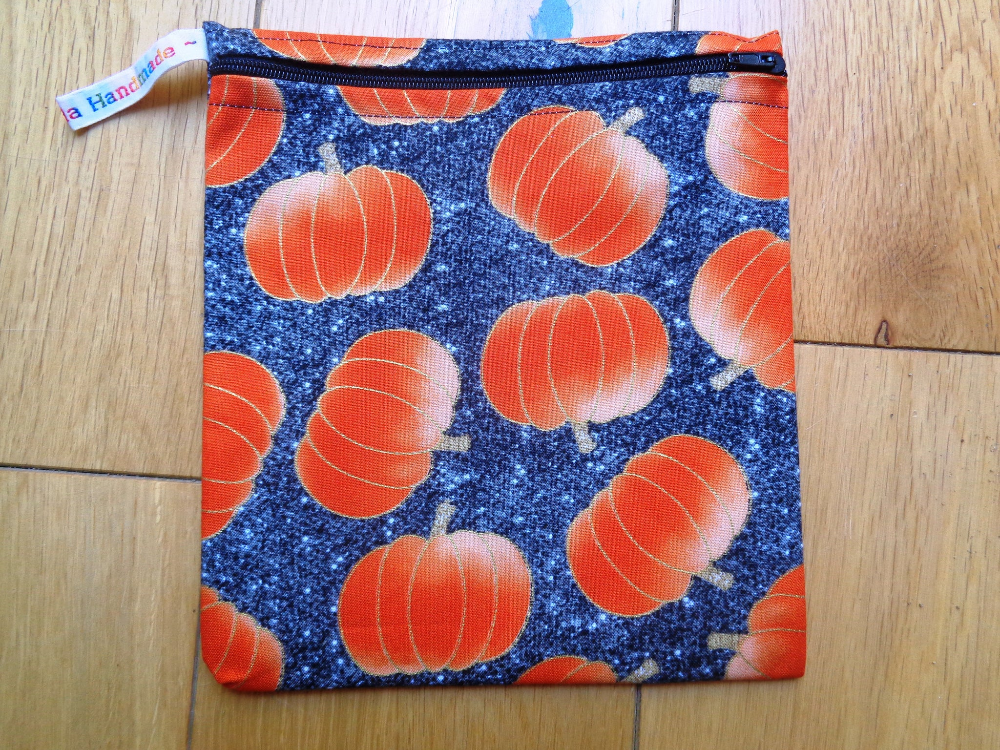 Midnight Pumpkin Medium Poppins Pouch Washable Sandwich Bag - Alt. to Wax Wrap
