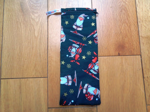 Green Santa - Short Zip Straw/Cutlery Poppins Pouch
