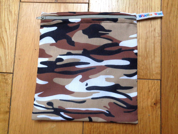 Tan Black Camo Medium Poppins Pouch Washable Sandwich Bag - Alt. to Wax Wrap