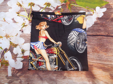 Biker Pin Up - Large Poppins Pouch - Waterproof, Washable, Food Safe