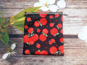 Red Apple On Black Medium Poppins Pouch Washable Sandwich Bag - Alt. to Wax Wrap