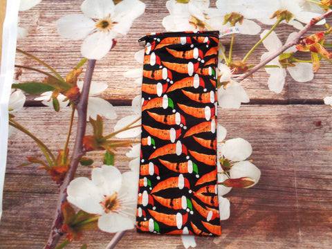 Christmas Carrots - Short Zip Straw/Cutlery Poppins Pouch