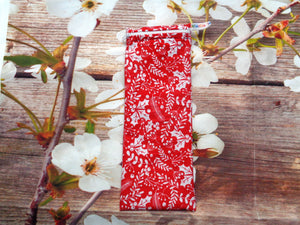 Red White Holly - Short Zip Straw/Cutlery Poppins Pouch