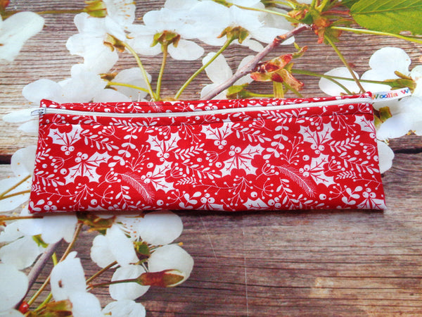 Red White Holly LZ - Long Zip Straw/Cutlery Poppins Pouch