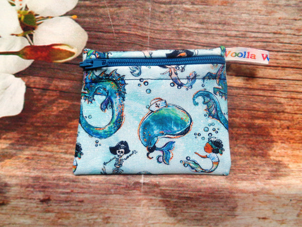 Lip Balm Coin       Mermaid Merboy Pirate - Pippins Poppins Pouch Snack Pouch, Coin Purse, Ear Bud Case