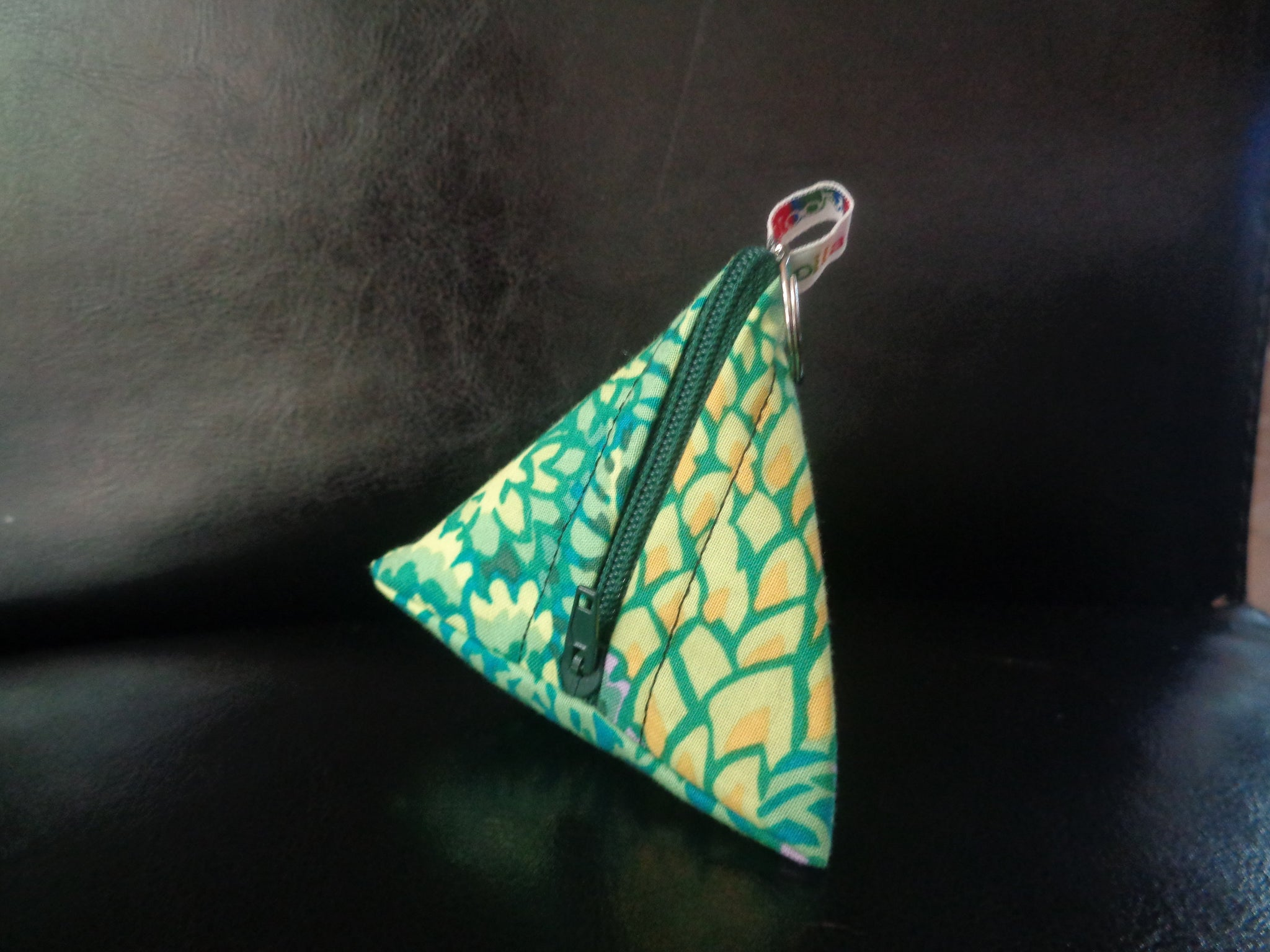 Yellow Green lotus - Tri-Keyring Poppins Pouch