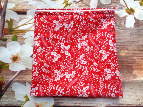 Red White Holly - Large Poppins Pouch - Waterproof, Washable, Food Safe