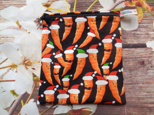 Christmas Carrot - Small Poppins Pouch Washable Snack Bag