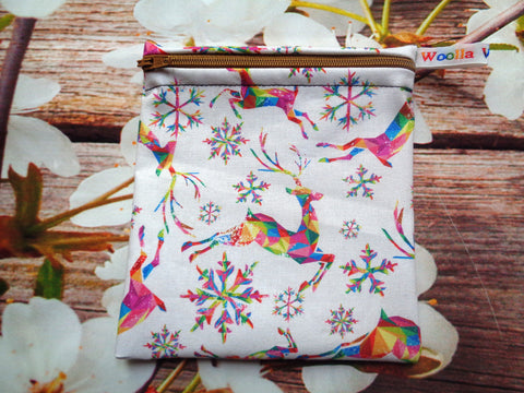 Rainbow Stag Snowflake - Small Poppins Pouch Washable Snack Bag