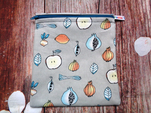 Onions Apples Veggies Medium Poppins Pouch Washable Sandwich Bag - Alt. to Wax Wrap