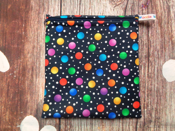 Dark Navy Multi Dot Medium Poppins Pouch Washable Sandwich Bag - Alt. to Wax Wrap