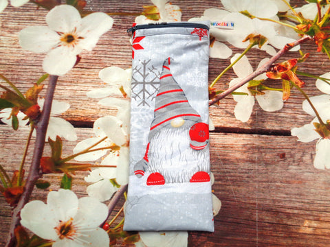 Gnome Tomte Red Bauble - Short Zip Straw/Cutlery Poppins Pouch