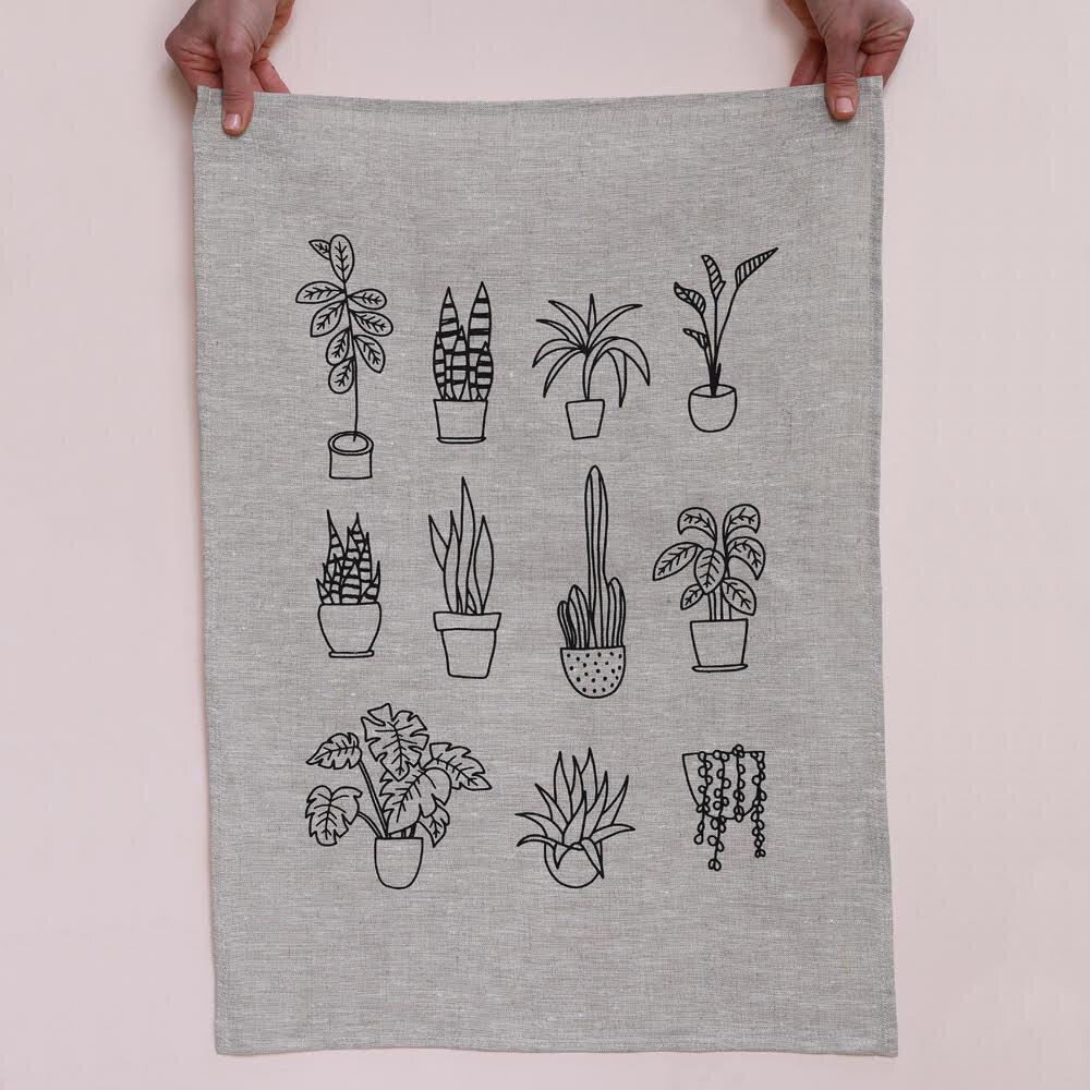 Me and Amber - Pot Plants Linen Tea Towel