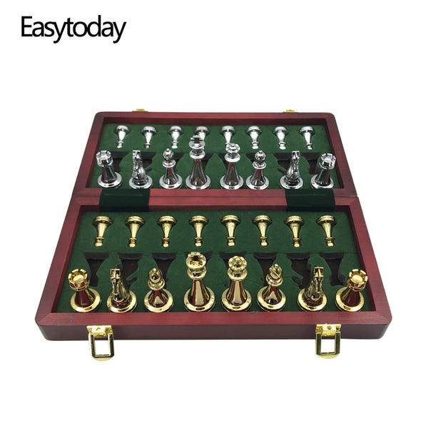 High-Gloss Gold & Silver Chess Set with Solid Wood Folding Board