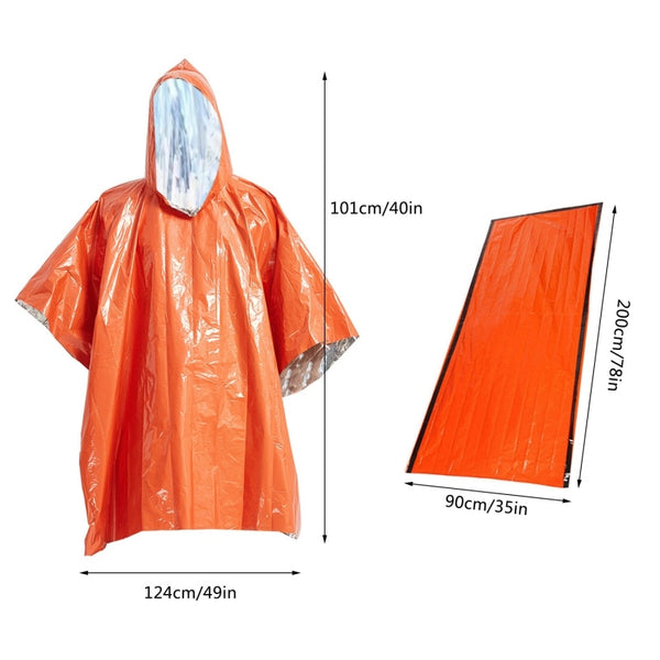 Ultra-Thin Emergency Raincoat & Blanket Set