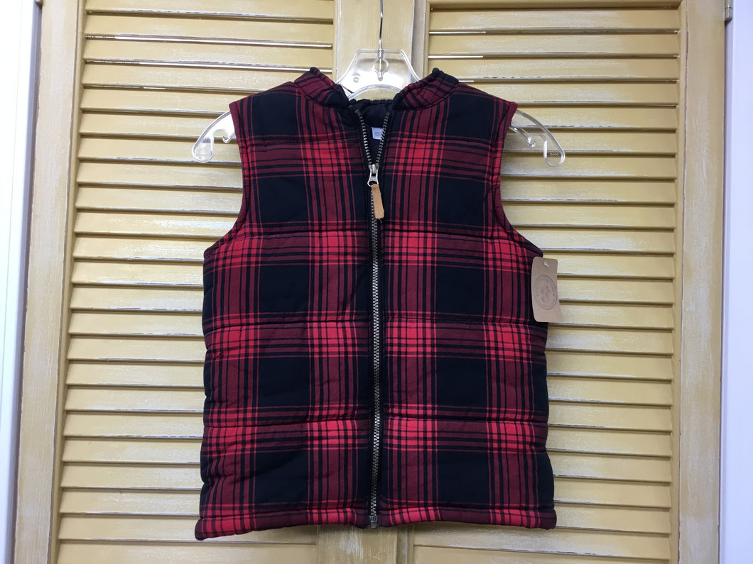 Boys 8 Carters Red Plaid Puff Vest IN287