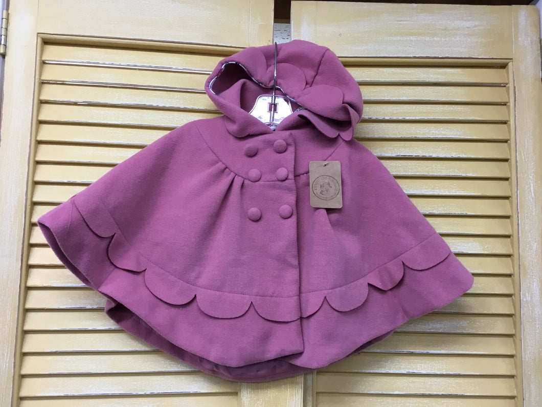 Girls 18m Mauve Cape Poncho IN205