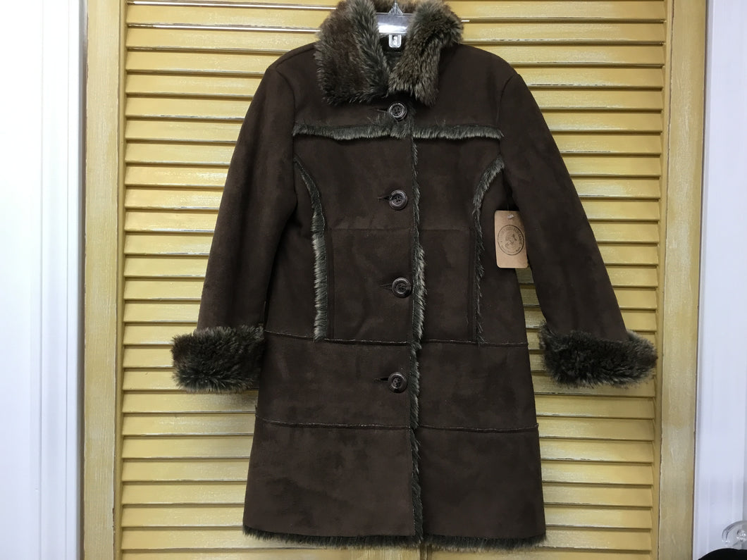 Girls 4 Brown Faux Suede Fur IN158