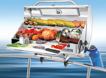 Load image into Gallery viewer, Monterey Infrared grill rail mounted on a boat with grilled steak and vegetables