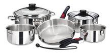 Load image into Gallery viewer, 10 piece, Nesting stainless steel exterior Finish Cookware