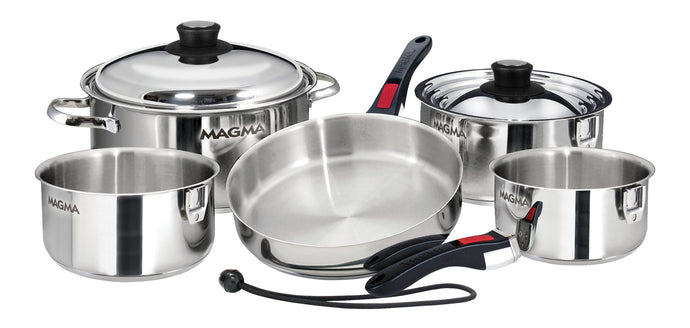 10 piece, Nesting stainless steel exterior Finish Cookware