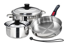 Load image into Gallery viewer, 7 piece, Nesting stainless steel exterior Finish Cookware