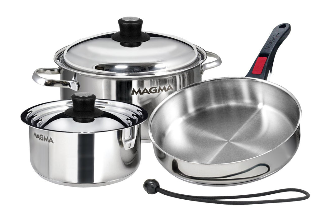 7 piece, Nesting stainless steel exterior Finish Cookware