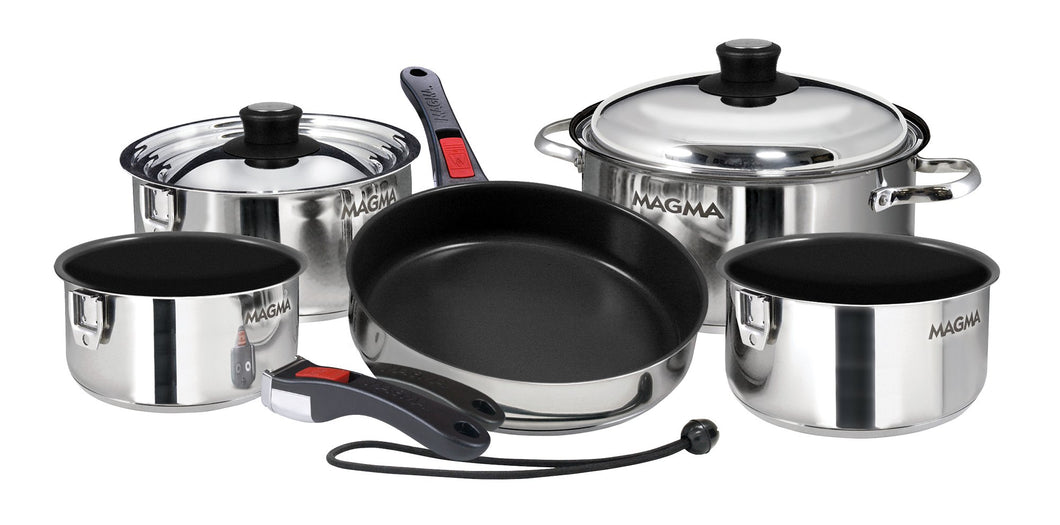 10 piece, Nesting Non-Stick stainless steel exterior Finish Cookware