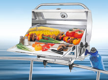 Load image into Gallery viewer, Newport Infrared Rectangular grill mounted on boat with grilled skewers and vegetables