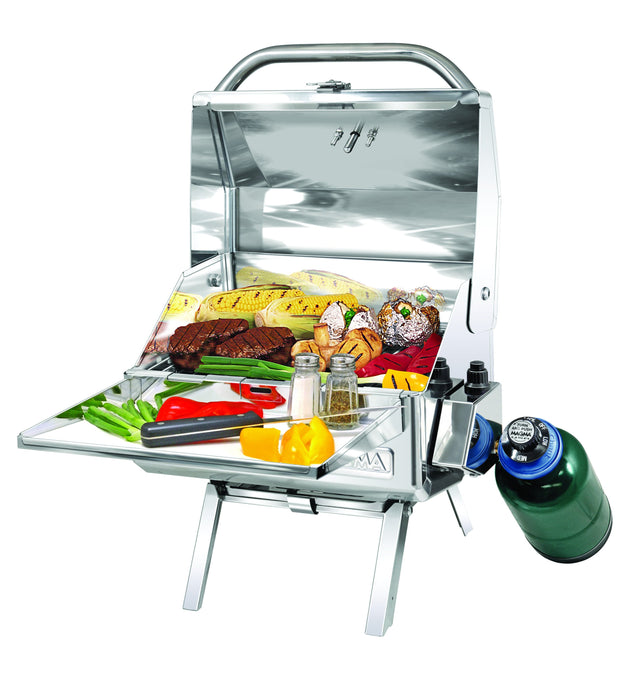 Mesquite Rectangular grill with grilled steak and vegetables on table legs