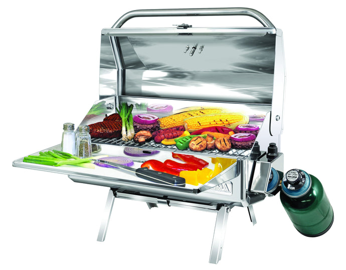 Baja Rectangular grill with grilled steak and vegetables on table legs