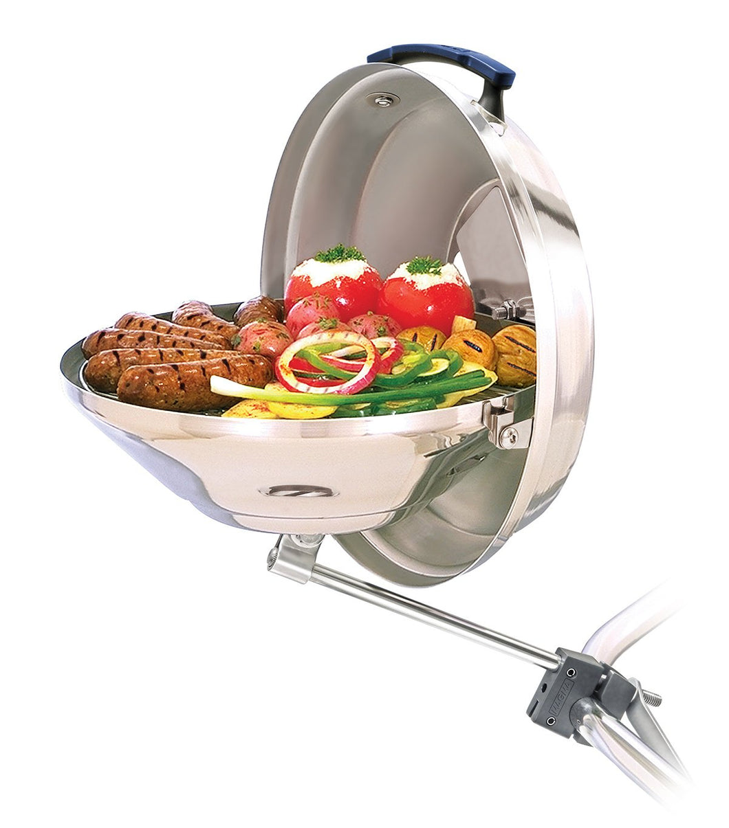 Original Marine Kettle grill rail mounted with grilled saugage and vegetables