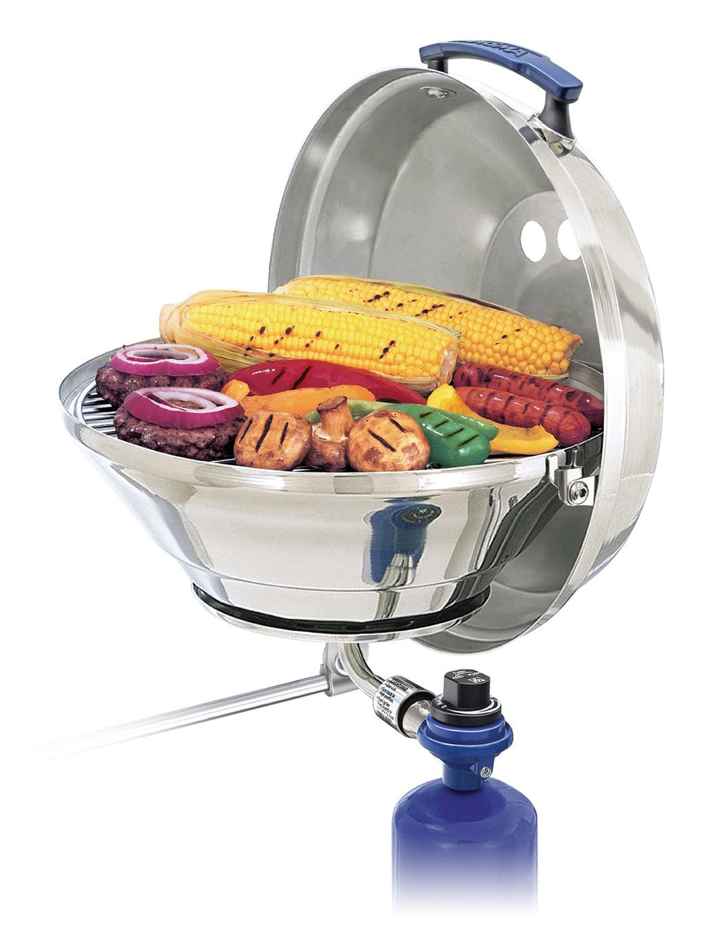 Original Marine Kettle grill rail mounted with grilled hamburgers, saugsages and vegetables