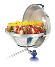 Load image into Gallery viewer, Party size marine Kettle grill rail mounted with grilled skewers and corn