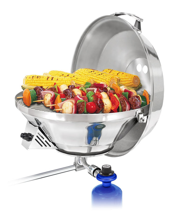 Party size marine Kettle grill rail mounted with grilled skewers and corn