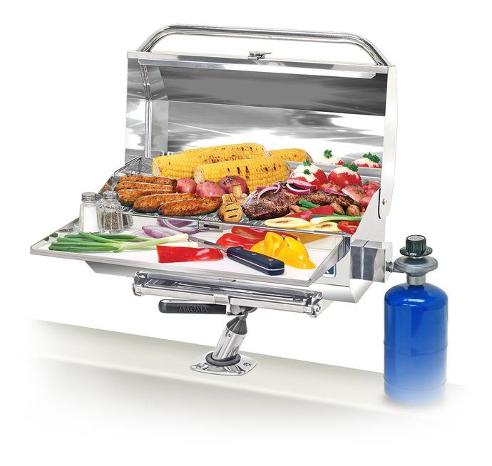 ChefsMate Rectangular grill mounted on boat with grilled steak and vegetables