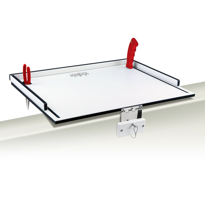 gunnel mounted bait/fillet table with pliers and fillet knife