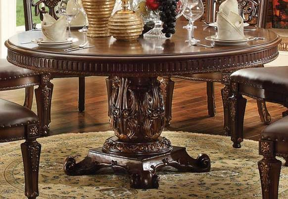 "Acme Vendome Single Pedestal Round Dining Table with 60""D Table Top in Cherry 62015 image"