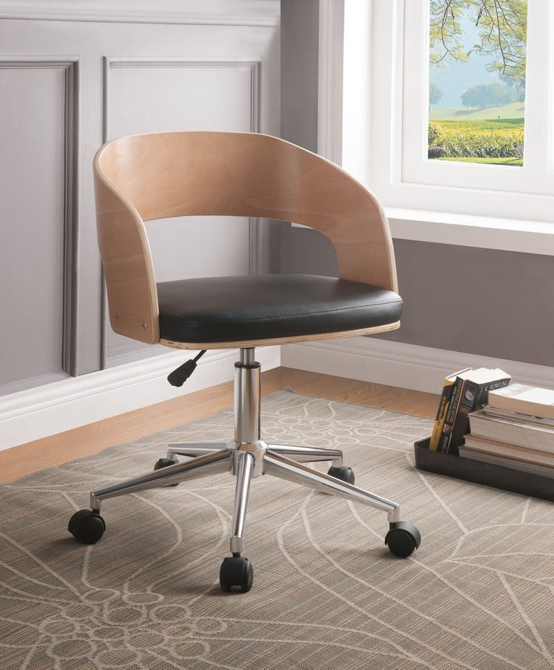 Yoshiko Black PU & Beech Office Chair image