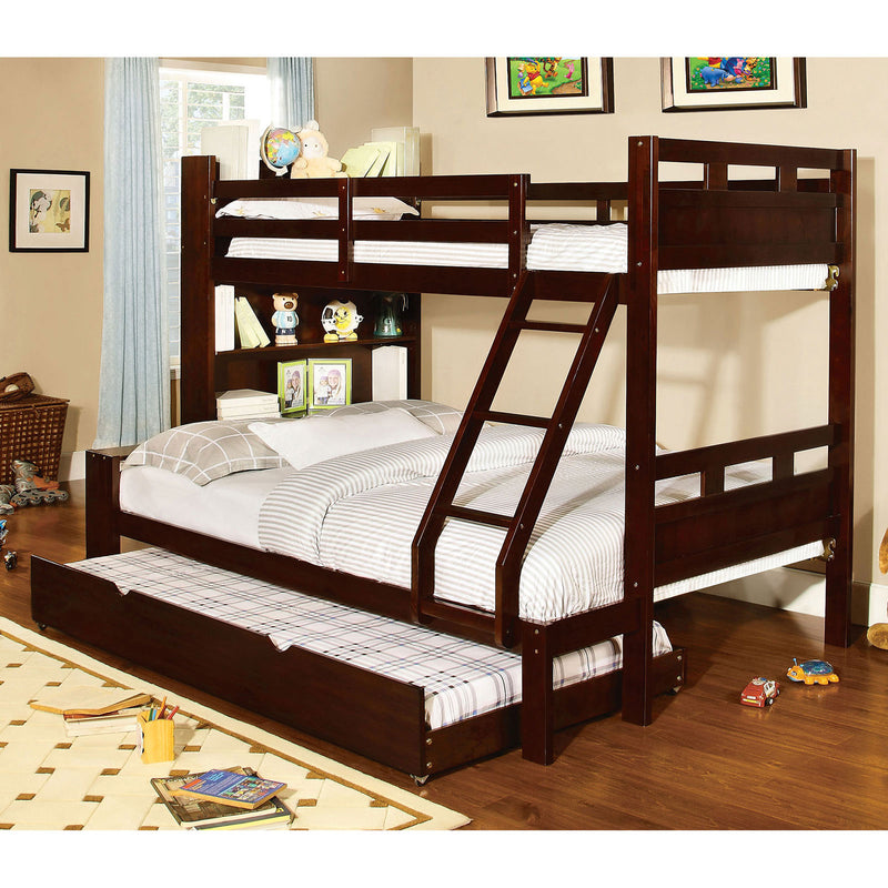 Fairfield Dark Walnut Twin/Full Bunk Bed w/ Book Shelf image