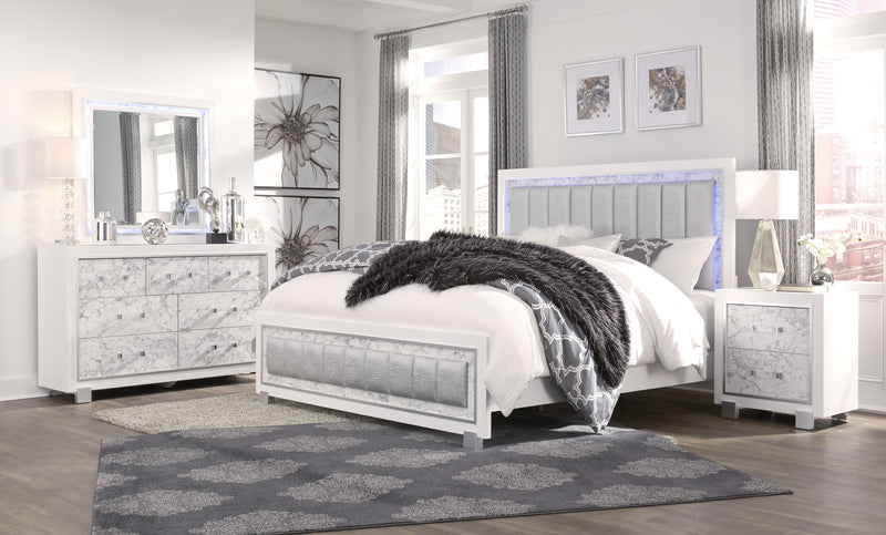 SANTORINI FULL BED METALLIC WHITE/MARBLE image