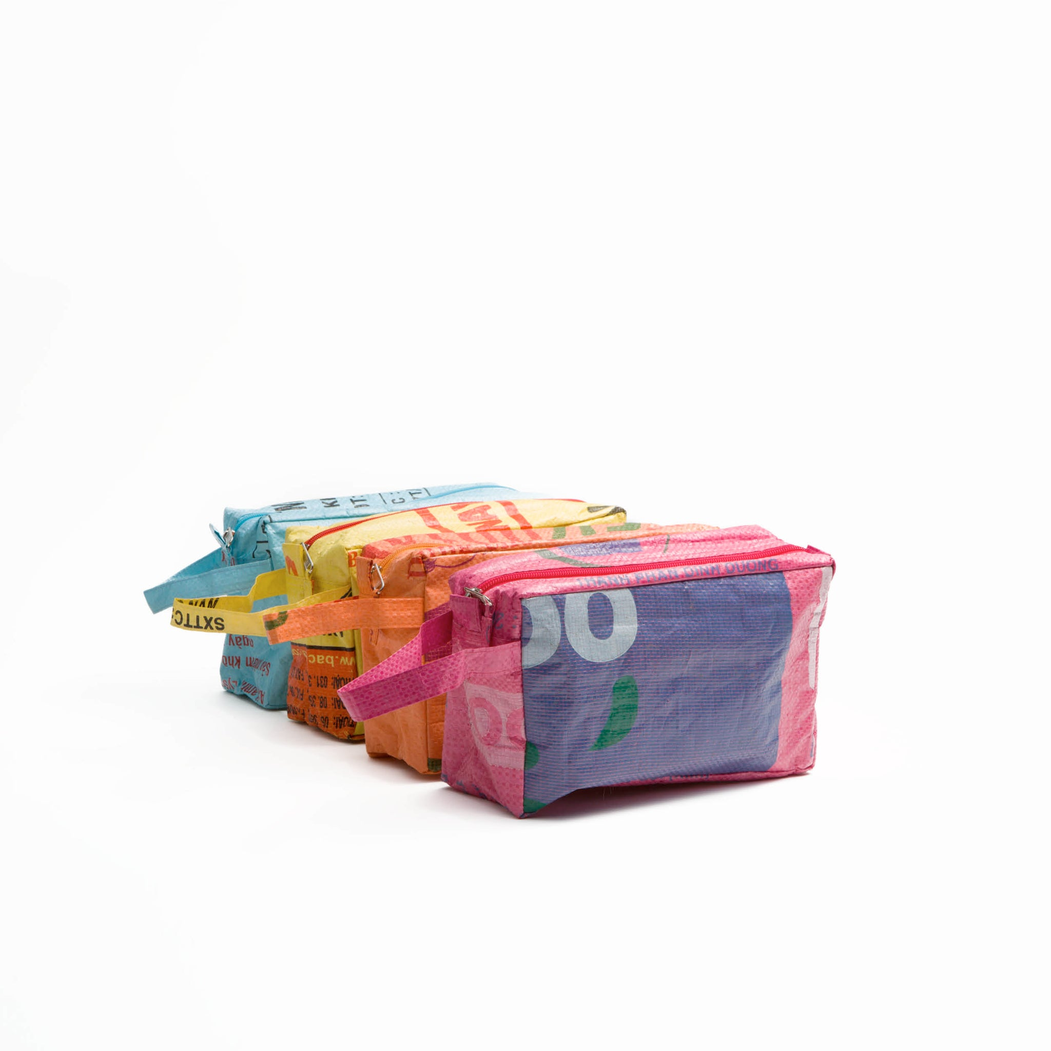 """Upcycled"" Colorful Toilet Bag ""WASH ME"""