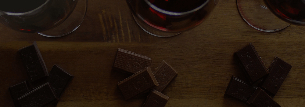 Hero image of chocolate with wine